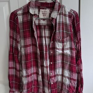 magenta and white plaid flannel
